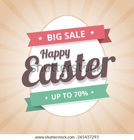 Happy Easter Sale big sale illustration in flat style with ribbons and egg. Vector illustration. - stock vector