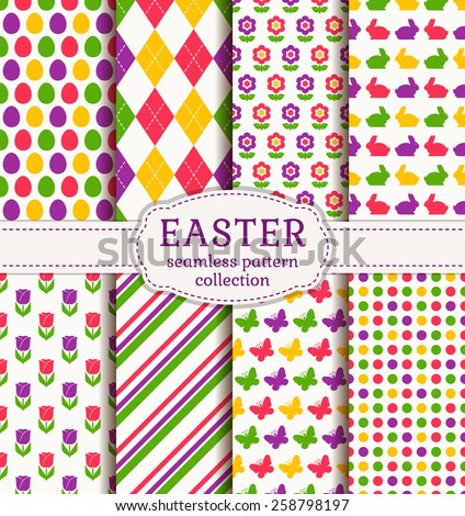 Happy Easter! Set of colorful holiday backgrounds. Collection of seamless patterns with traditional symbols. Vector illustration.  - stock vector