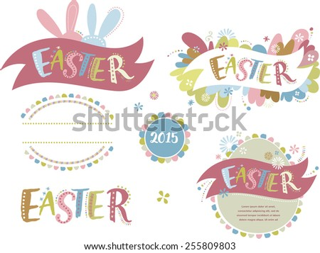 Happy easter - set of elements and icons - stock vector