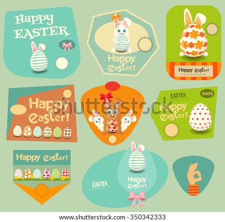 Happy Easter Stickers Set. Easter Bunny, Easter Egg. Vector Illustration. - stock vector