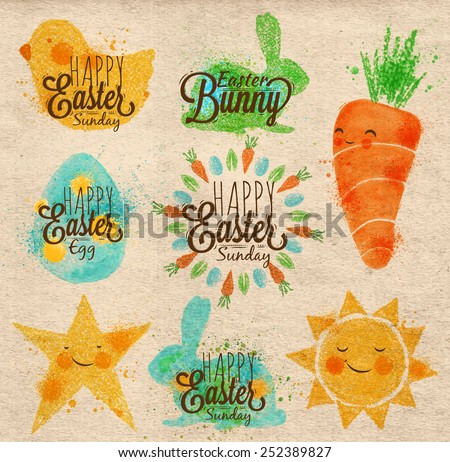 Happy easter symbols painted pastel colored stylized kids style, sun, sun, chicken, egg, rabbit, carrot, star on kraft paper - stock vector