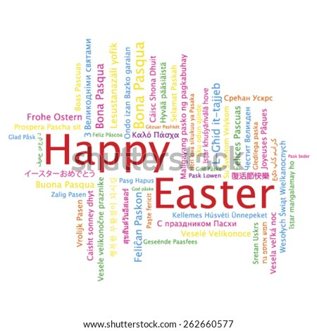 Happy Easter tag cloud in many languages, vector - stock vector