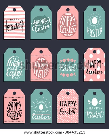 Happy Easter type greeting cards set in the egg shape. Vector illustration - stock vector
