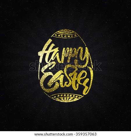 Happy easter - typographic calligraphic lettering golden effect - stock vector