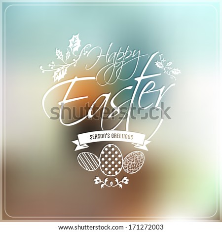 Happy Easter Typographic label, decorated eggs, abstract background, vector  - stock vector