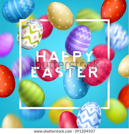 Happy Easter Typographical Background With Flying eggs. - stock vector