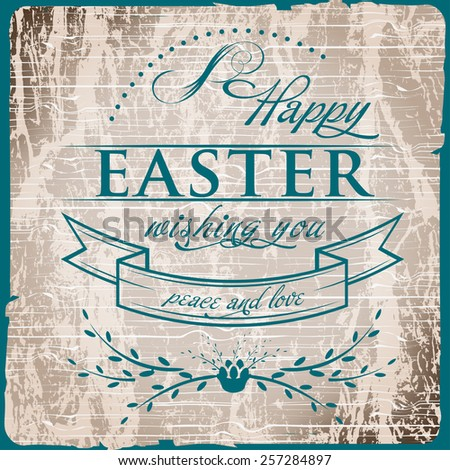 Happy Easter Typographical on vintage old grunge wood  Background - stock vector