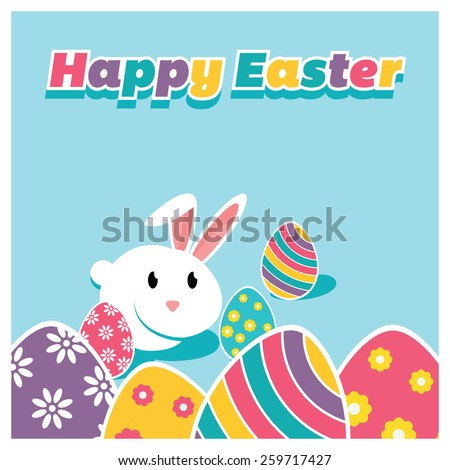 Happy easter typography blue background with Bunny and Easter eggs template card design - stock vector