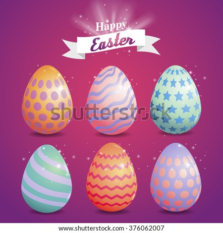 Happy Easter Typography, set eggs paint , magic Background With Bunny - stock vector