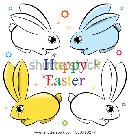 Happy Easter. Vector set of rabbits. Contour and painted - stock vector