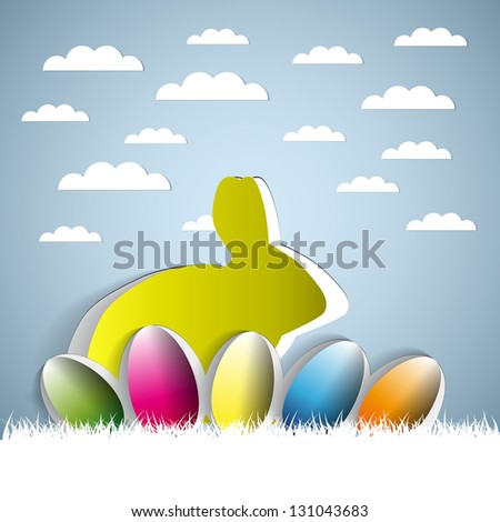 Happy Easter with a bunny and eggs - sticker on a blue background - stock vector