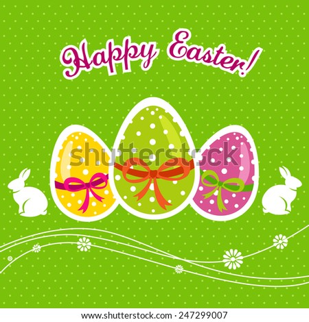 Happy Easter with eggs and bunny - stock vector
