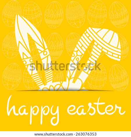 Happy Easter yellow invitation with eggs and decorated ears rabbit and inscription happy easter Vector eps 10 - stock vector