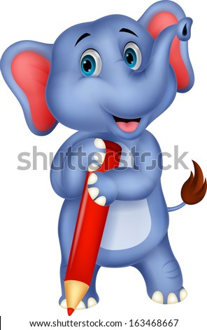 Happy elephant cartoon holding red pencil - stock vector