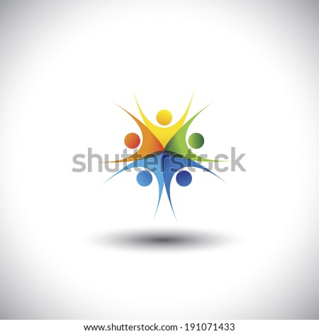 happy, excited colorful children or kids playing together - vector graphic. This illustration also represents friendship, harmony, trust, togetherness, meetings, integrity, unity, community - stock vector
