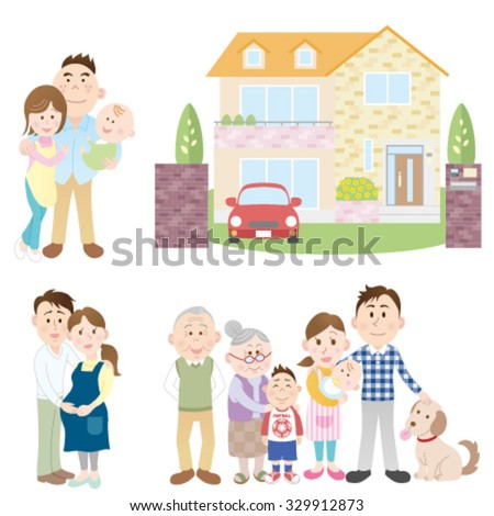 Happy families and new house - stock vector