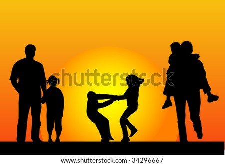 happy family and a beautiful sunset - stock vector