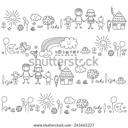 happy family and cute nature elements - stock vector