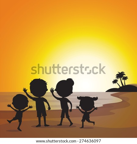 Happy family at sunset beach - stock vector