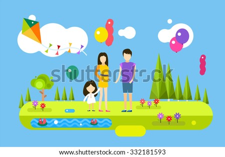 Happy family birthday. Holiday weekend summer time background with balloons. Fun festival. Food People abstract, man silhouette, woman, girl, family party, happy people, summertime. Family fun concept - stock vector