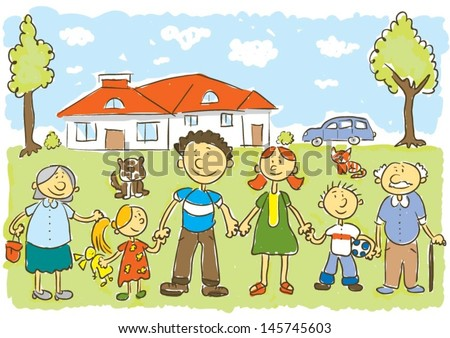 Happy family.Child's hand drawing vector illustration on happy family in front of their house - stock vector
