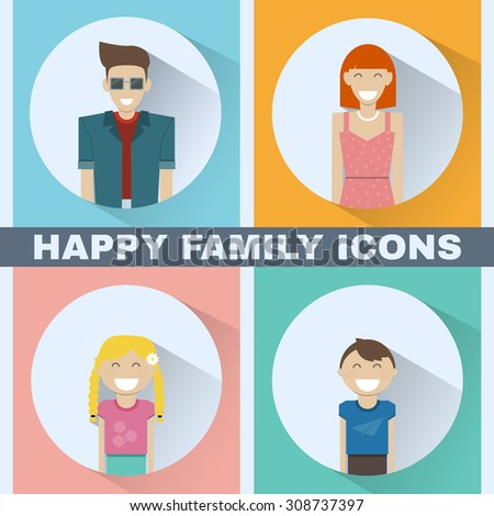 Happy Family concept. Colorful family portrait icon set. Mother, Father, Kids, Daughter, Son. People silhouettes. Digital background vector illustration. - stock vector