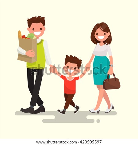 Happy family. Dad mom and son are going home. Vector illustration of a flat design - stock vector