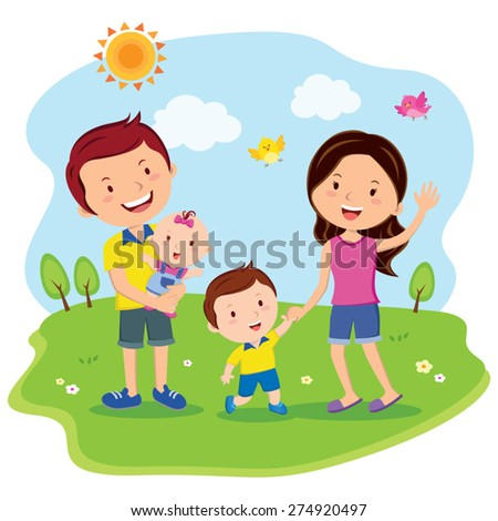 Happy family day. Cheerful family outing, fun in the sunny day! - stock vector