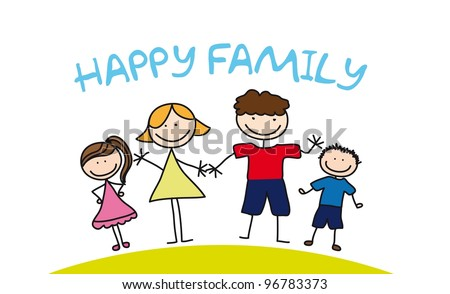 happy family drawing over grass. vector illustration - stock vector