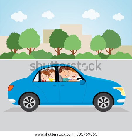 Happy family driving in a car. Family driving in the city. - stock vector