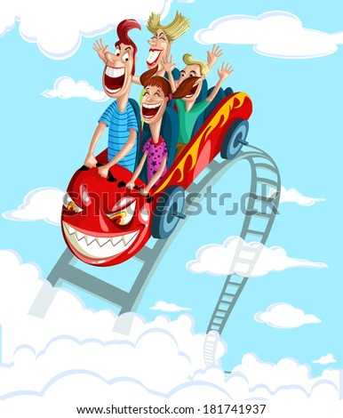 Happy family enjoying fun ride in rollercoaster - stock vector