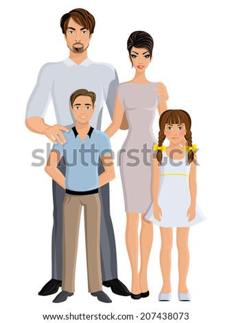 Happy family father mother daughter and son full length portrait vector illustration - stock vector