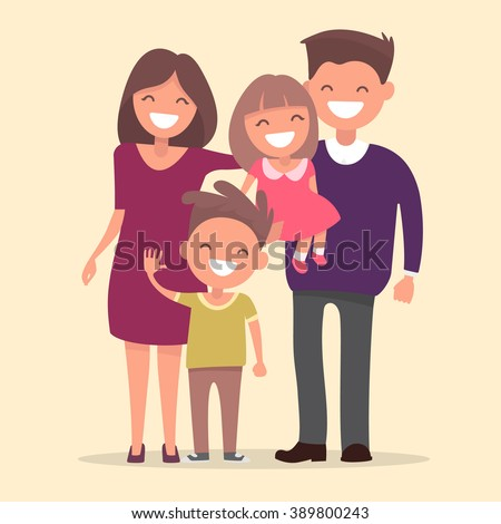 Happy family . Father mother daughter and son together. Vector illustration of a flat design - stock vector