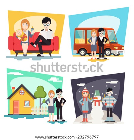 Happy Family Geek Hipster Characters Life Situations Always Love Together Child Couch House Car Winter Holidays Icon Greeting Card Concept Flat Design Vector Illustration - stock vector