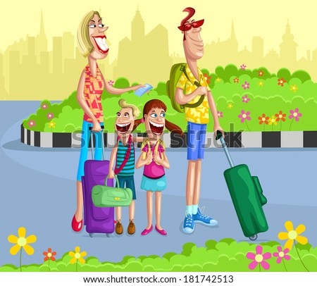 Happy family going for vacation with travel bag - stock vector