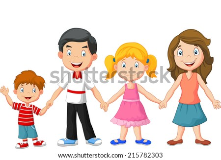 Happy family holding hands - stock vector