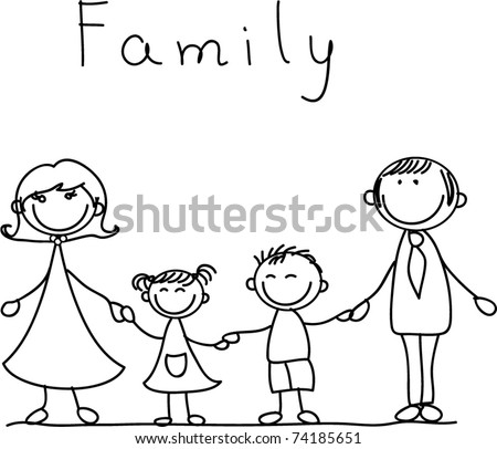 happy family holding hands and smiling - stock vector