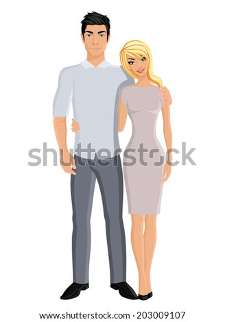 Happy family husband and wife married couple portrait on white background vector illustration. - stock vector
