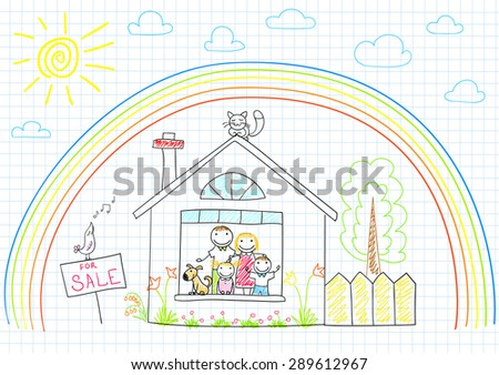 Happy family in new house. Sketch on notebook page - stock vector