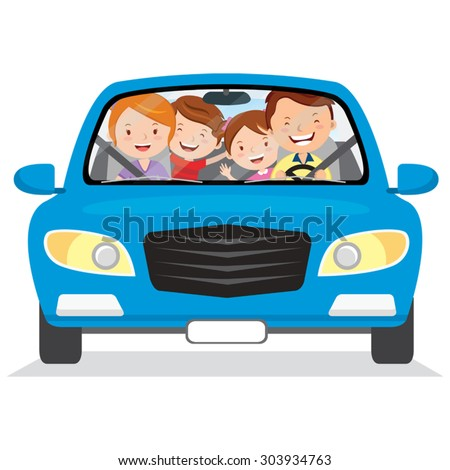 Happy family in the car. Vector illustration of family with the children driving in a blue car. Isolated. - stock vector