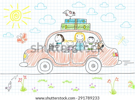 Happy family - mom, dad and two children in car. Sketch on notebook page - stock vector