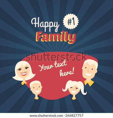Happy Family. Mom, Son, Dad and Daughter. Flat Design Vector Illustration with Place for Text - stock vector