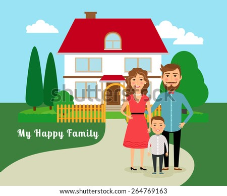 Happy family near house. Father mother and son, and home with red roof. Vector illustration - stock vector