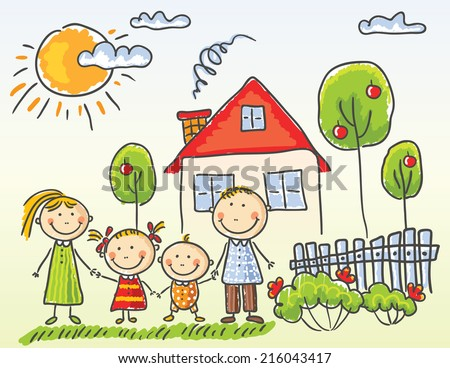 Happy family near their house - stock vector