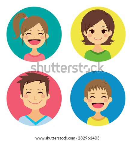 Happy family of four people portraits together - stock vector