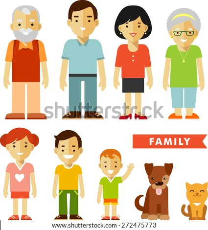 Happy family of seven people and two pets isolated on white background in flat style - stock vector
