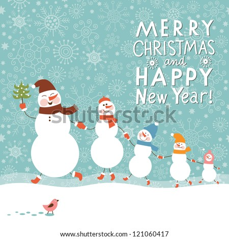 Happy family of snowmen - stock vector