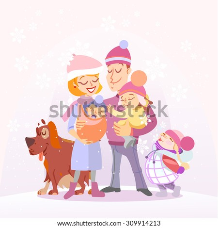 Happy family portrait in winter. Isolated on white background. Vector illustration - stock vector