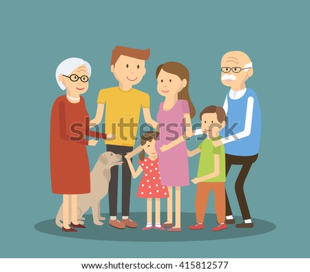 Happy family portrait. Vector illustration. Flat style characters. - stock vector