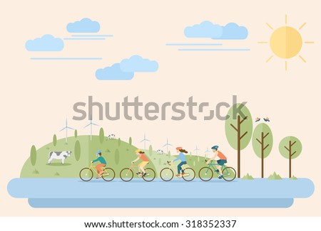 Happy family riding bicycles in countryside. Flat Illustration, all objects are grouped. - stock vector